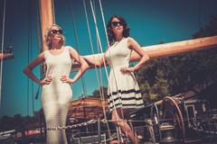 Stock Photo of Stylish wealthy women on a luxury yacht