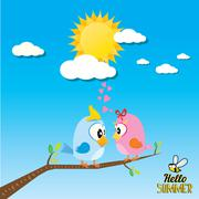 birds on branch. cartoon summer illustration - stock illustration