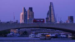 Waterloo Bridge Dusk.4K. Stock Footage