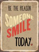 """Stock Illustration of Retro metal sign """" Be the reason somenone smile today"""""""