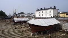 Dry dock in Suomenlinna, Heslinki. Pan left Stock Footage