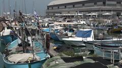 Urban cityscape of the old port of Jaffa in Tel Aviv Jaffa, Israel Stock Footage