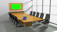 Camera fly through to green screen in conference room. - stock footage