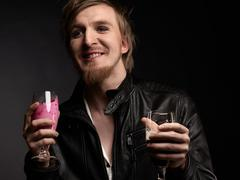 Male rocker and smoothie - stock photo