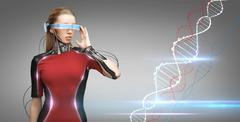 Woman with futuristic glasses and sensors Stock Photos