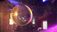 Mirror ball rolling in the night club. - stock footage