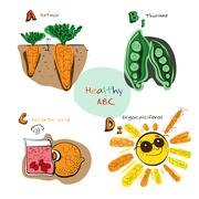 Healthy ABC: Vitamins A, B, C, D Stock Illustration