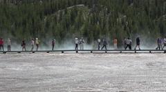 Yellowstone tourist boardwalk Midway Geyser Basin 4K Stock Footage