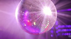 Close- up video of mirror ball rolling in the night club - stock footage