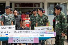 On June 25, 2015, soldiers and Police Patrol. Sakon Nakhon, Thailand announce - stock photo