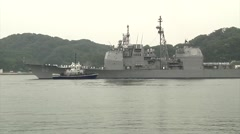 USS Chancellorsville (CG 62) Arrives in Yokosuka Stock Footage