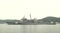 USS Chancellorsville (CG 62) Arrives in Yokosuka Stock Footage