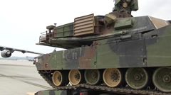 M1A2 Abrams tank  Being Loaded onto a C17 Globemaster Stock Footage