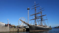 Tallship moored in Helsinki harbour Stock Footage