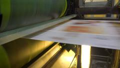 Web set offset print shop newspapers Printint, Newspapers coming off the rota - stock footage