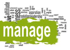 Manage word cloud with green banner - stock illustration