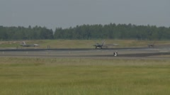 F-22 Raptor aircraft taking off for Northern Edge 2015 Stock Footage