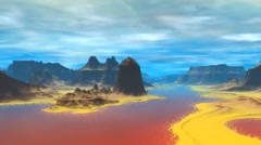 Stock Video Footage of Alien Planet. Rocks and  water. 3D rendered