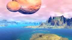 Alien Planet. Rocks and  water. 3D rendered - stock footage