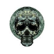 Isolated Skull Art Medallion - stock illustration