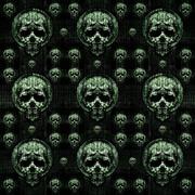 Skulls Motif Dark Seamless Pattern Stock Illustration