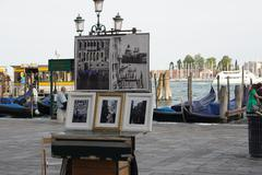Artwork at The Canals of Venice - stock photo