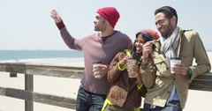 Young multi ethnic hipster friends standing on a pier looking pointing Stock Footage