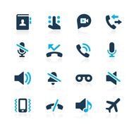 Phone Calls Interface Icons // Azure Series - stock illustration