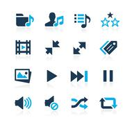 Stock Illustration of Media Player Icons // Azure Series