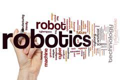 Robotics word cloud Stock Photos