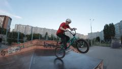 slow motion: Extreme Sport trick Truck driver skate park - stock footage