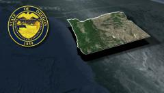 Oregon Seal and animation map - stock footage
