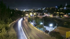 Traffic from Jerusalem Bridge at Night - Timelapse Stock Footage