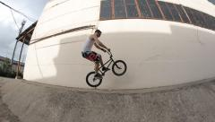 Extreme Sport BMX bicycle trick - stock footage