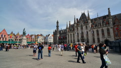 Grote Markt square in Bruges, Belgium Stock Footage