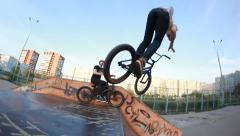 Extreme Sport skatepark bmx bicycle trick truck driver - stock footage