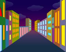 Night city street Piirros