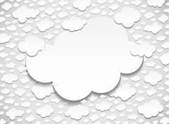 Frame with many cut out clouds - stock illustration