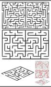 mazes or labyrinths diagrams set - stock illustration