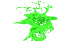Abstract green paint splash in slow motion, isolated on white (FULL HD) Stock Footage