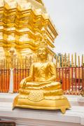 Golden Buddha in Temple Chiang Mai Asia Thailand - stock photo