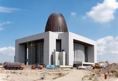 Temple of Divine Providence in Warszawa, Poland, under construction - stock photo