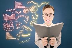 Composite image of geeky preacher reading from black bible - stock illustration