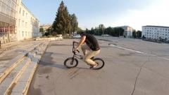 Extreme Sport BMX trick barspin 180 - stock footage
