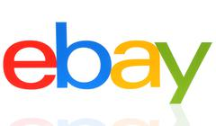 EBay logotype printed on paper on white background Stock Photos