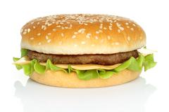 Big hamburger on white background - stock photo