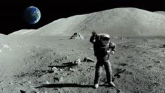 Astronaut dancing on the moon Stock Footage