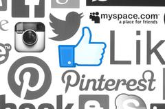 Collection of popular social media logos printed on paper Stock Photos