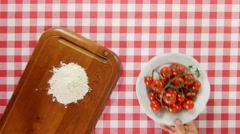 Ingredients to make pizza dolly shot top view from above Stock Footage