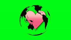 Heart inside rotating globe on green screen Stock Footage
